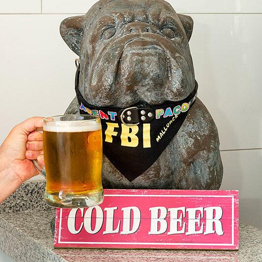 """Bulldogge """"Paco"""" ist eines von zwei Haustieren in """"Claudia's Cafeteria"""" in Porto Cristo und trinkt gern Bier."""